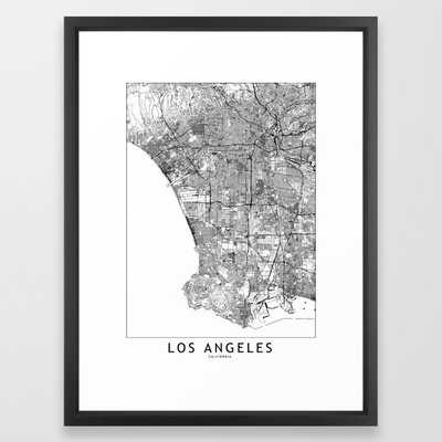 Los Angeles White Map Framed Art Print - Society6