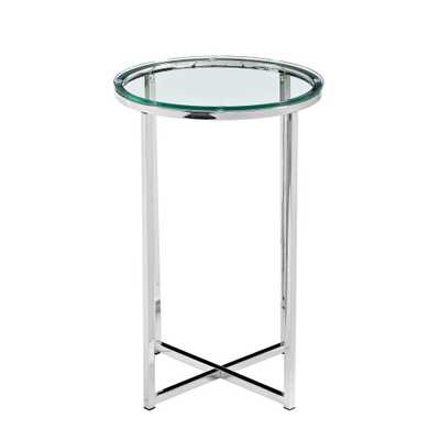 16 in. Glass/Chrome Mid Century Modern X-Base Side Table - Home Depot