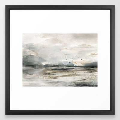 Seascape Sunset Painting Framed Art Print - 22x22 - Society6