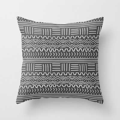 Mud Cloth on Gray Throw Pillow - Society6