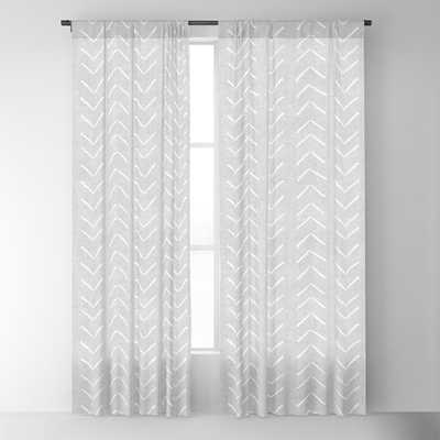 "Mudcloth Big Arrows in Grey Blackout Curtain - 96"" - Set of 2 - Society6"