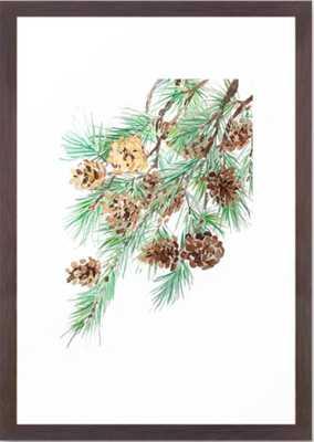 pine cones watercolor Framed Art Print - Society6