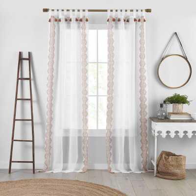 Axbridge Sheer Tab Top Single Curtain Panel-Terrecotta - Wayfair