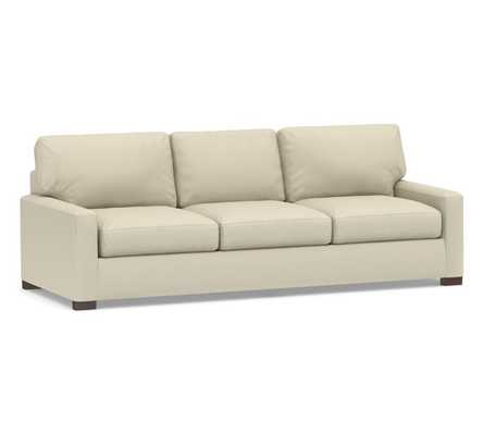 "Turner Square Arm Upholstered Grand Sofa 105"" without Nailheads, Down Blend Wrapped Cushions, Performance Everydaylinen(TM) by Crypton(R) Stone - Pottery Barn"