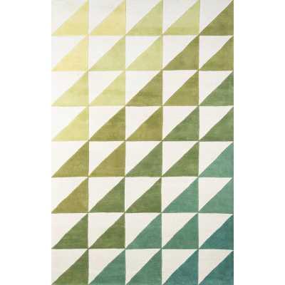 Delmar Geometric Handmade Tufted Wool Lime/Green/Blue Area Rug - Wayfair