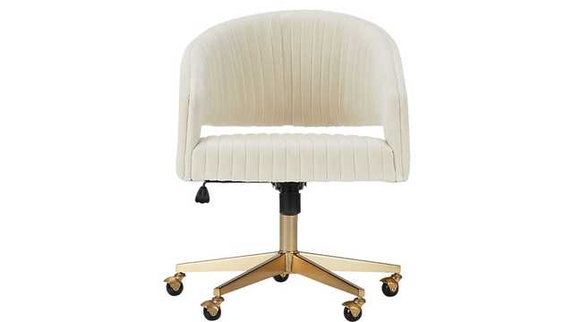 Channel Ivory Velvet Office Chair - CB2