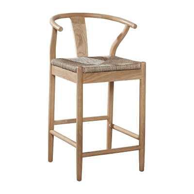 Wishbone Mid-Century Steam Bent Oak Counter Stool - 24-Inch Seat - Wayfair