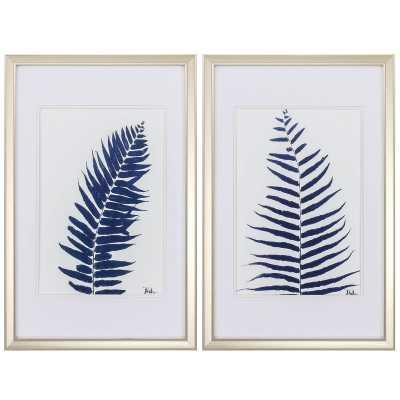 'Indigo Ferns' 2 Piece Framed Print Set - Birch Lane
