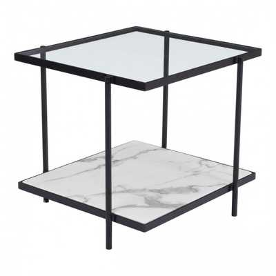 Winslett End Table Clear & White & Matt Black - Zuri Studios