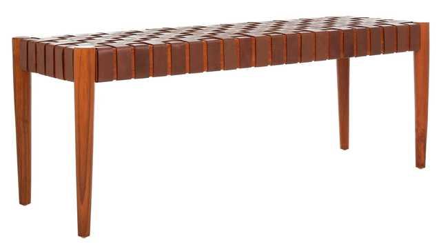 Amalia Leather Weave Bench - Cognac/Honey - Arlo Home - Arlo Home