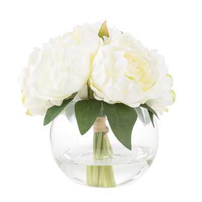 Rose Floral Arrangement in Glass Vase - Birch Lane