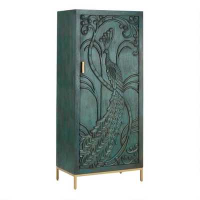 Teal Carved Wood Peacock Storage Cabinet - World Market/Cost Plus