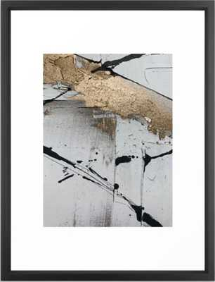 Still: an abstract mixed media piece in black, white, and gold by Alyssa Hamilton Art Framed Art Print - Society6