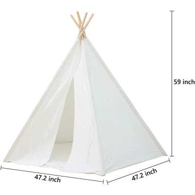 Kids Teepee Tent - Portable Kids Play Tent,Pure Cotton Children Foldable Tent With Mat,Kids Playhouse , Great For Girls/Boys Indoor & Outdoor Playing (No Windows),White - Wayfair