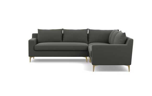 SLOAN Corner Sectional Sofa - Charcoal Heavy Cloth--bench cushion - 97'' - Interior Define