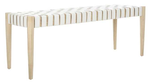 Amalia Leather Weave Bench - White/Natural - Arlo Home - Arlo Home