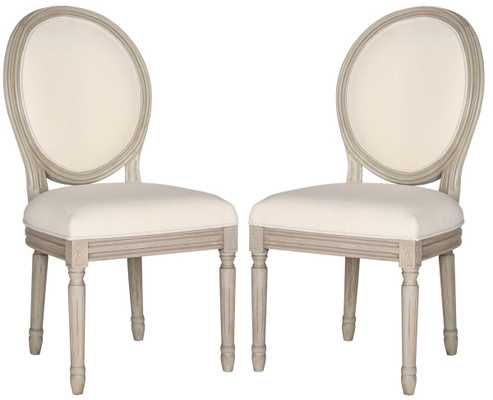 Holloway 19''H French Brasserie Linen Oval Side Chair (Set of 2) - Light Beige/Rustic Grey - Arlo Home - Arlo Home