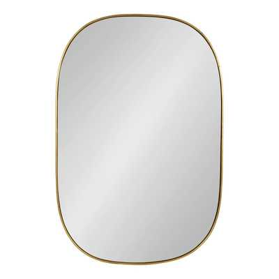 "24""x36"" Caskill Rounded Rectangle Leaf Wall Mirror Gold - Kate and Laurel - Target"