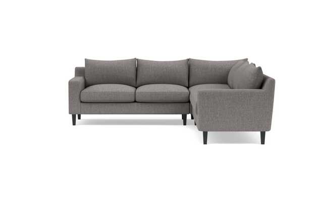 Sloan Corner Sectional with Black Seed Fabric, double downblend cushions, and Painted Black legs - Interior Define