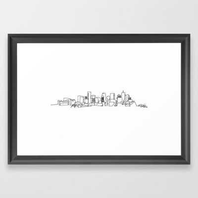 Denver Skyline Drawing, Scoop Black Frame - Society6