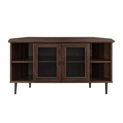 Welwick Designs Dark Walnut Corner TV Console for TV's up to 48 in. with Glass Door - Home Depot