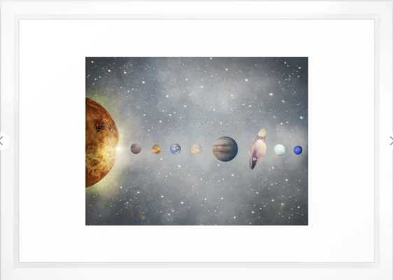 solar system Framed Art Print - Vector white - 15 x 21 - Society6