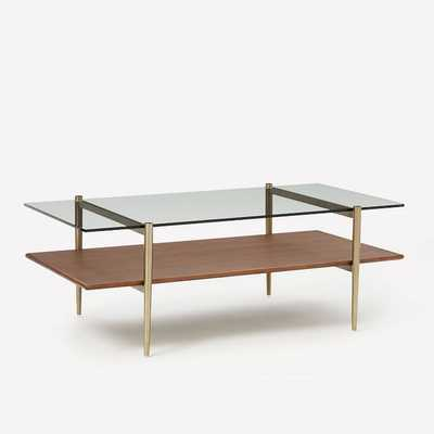 "Art Display Coffee Table, 46"", Walnut, Antique Brass - West Elm"