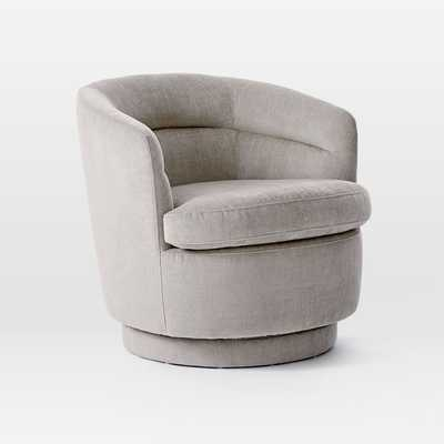 Viv Swivel Chair, Light Taupe, Distressed Velvet-Individual - West Elm