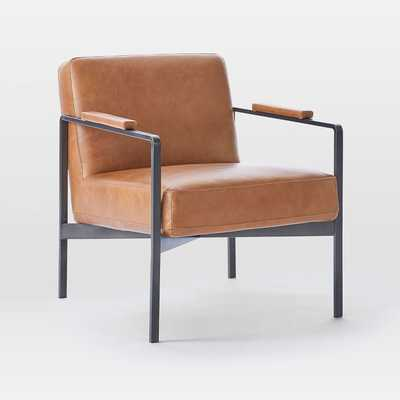 Highline Leather Chair, Leather, Dark Pewter - West Elm