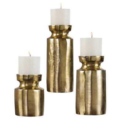 3 Piece Metal Candlestick Set - Wayfair