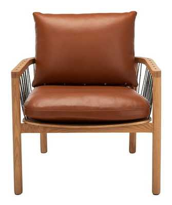 Caramel Mid-Century Brown Leather Chair - Style # 85N08 - Arlo Home