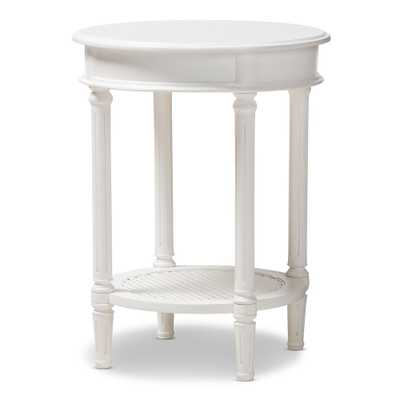 BAXTON STUDIO POIRE COUNTRY COTTAGE FARMHOUSE WHITE FINISHED END TABLE - Lark Interiors