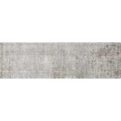 Queue Grey Modern Grid Runner 2.5'x8' - CB2