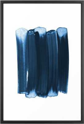 Indigo Blue Minimalist Abstract Brushstrokes Framed Art Print - Society6