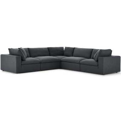 Commix Down Filled Overstuffed 5 Piece Sectional / Gray - Modway Furniture
