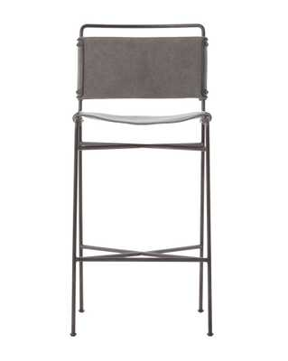 MOORE BAR STOOL, STONEWASH GRAY - McGee & Co.