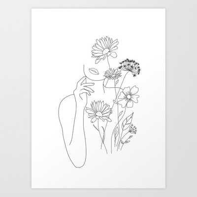 "Minimal Line Art Woman with Flowers III Art Print by Nadja 8""x10"" - Society6"