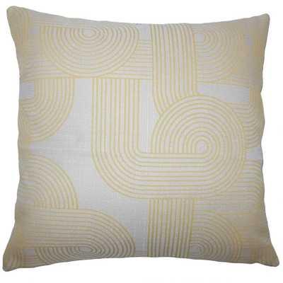 """Utara Geometric Pillow Sunshine, 18"""" x 18"""", Down Insert - Linen & Seam"""