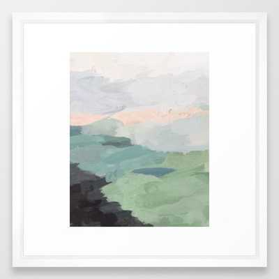 Seafoam Green Mint Black Blush Pink Abstract Nature Land Art Painting Framed Art Print - Society6
