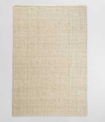 Bleached Ivory Basket Weave Jute Rug: White/Natural -6'W x 9'L - World Market/Cost Plus