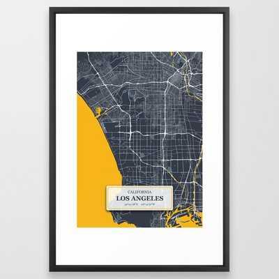 Los Angeles California with GPS Coordinates Framed Art Print - Society6
