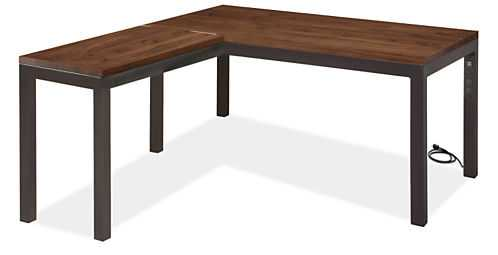 Parsons L-Shaped Desk 60w 30d 29h with 36w 18d Return with Right Power Cord - Room & Board