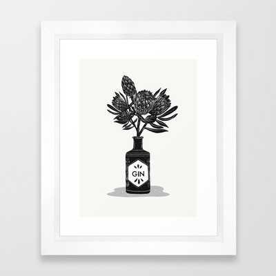 Floral Protea Gin Print Framed Art Print - Society6