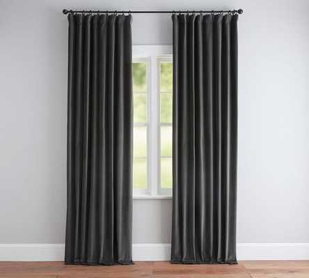 "Velvet Twill Curtain, 50 x 96"", Washed Black - Pottery Barn"