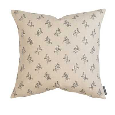 """GRACIE BLOCK PRINT PILLOW COVER - CHARCOAL - 20"""" x 20"""" - McGee & Co."""
