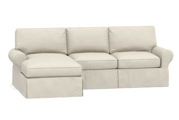 PB Basic Slipcovered Left Arm Sofa with Chaise Sectional, Polyester Wrapped Cushions, Performance Brushed Basketweave Ivory - Pottery Barn