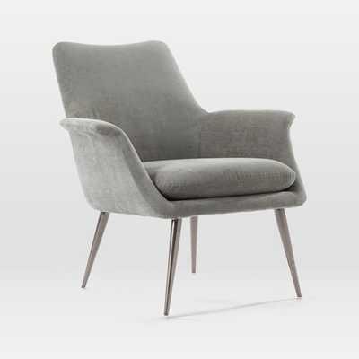 Finley Lounge Chair, Metal, Distressed Velvet, Burnished Bronze - West Elm