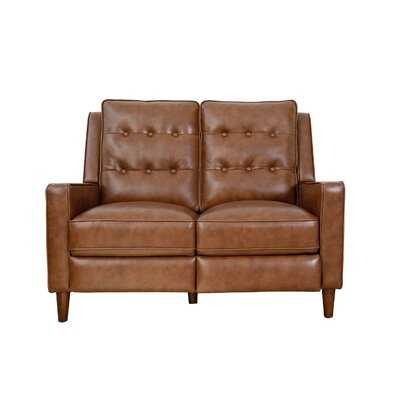 "Mary Genuine Leather Reclining 52"" Square Arm Loveseat - Wayfair"