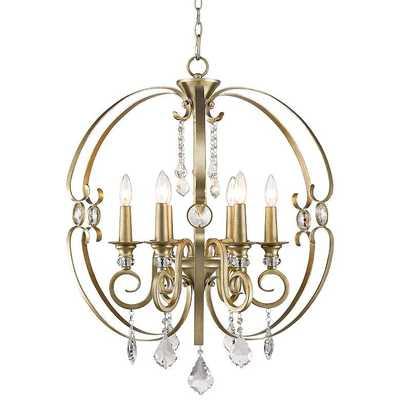 "Ella 26"" Wide White Gold 6-Light Chandelier - Lamps Plus"