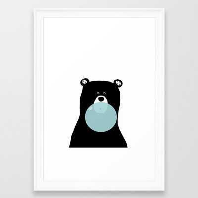 Bear with gum art, modern bear, woodland art, baby bear, peekaboo bear, nursery, kids,children,bear Framed Art Print - Society6